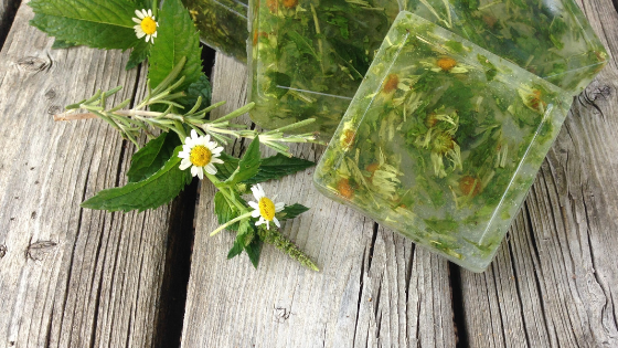 This easy to make soap uses dried herbs from the garden!