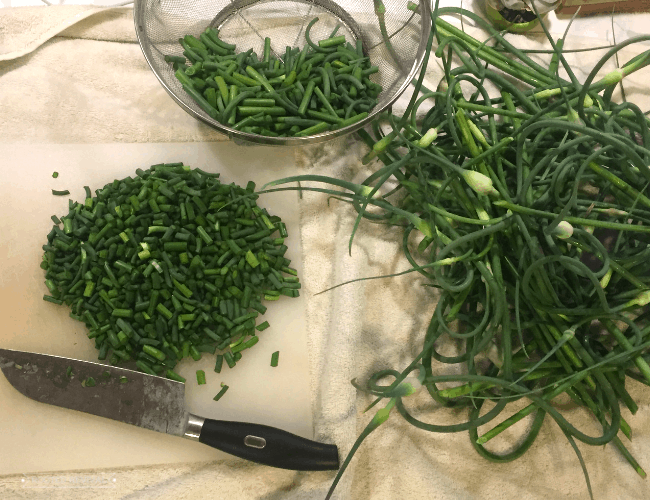 A cutting board with chopped scapes sitting next to uncapped scapes