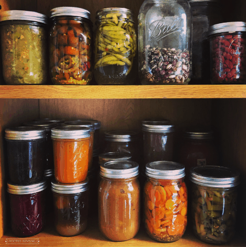 two shelves with a variety of canned foods in jars