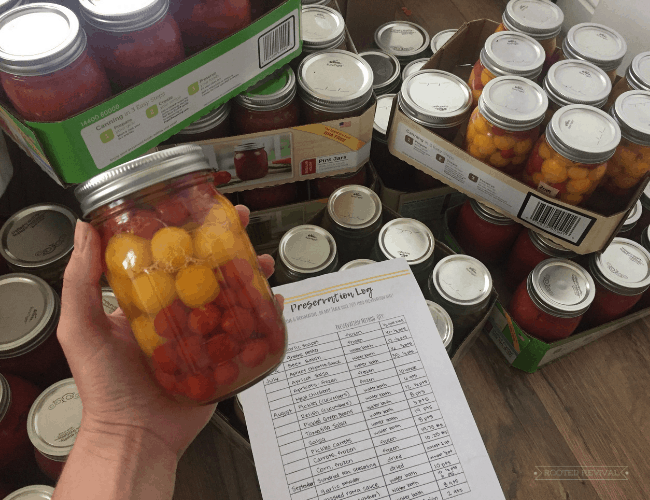 """hand holding a jar of canned tomatoes in front of a bunch of stacked cans and a paper that says """"Preservation Log"""""""