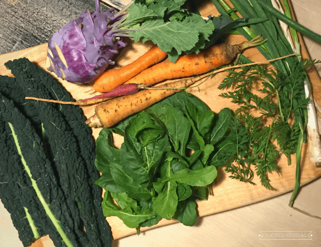 A wood cutting board loaded with dark leafy greens, kale, carrots, kohlrabi and green onions
